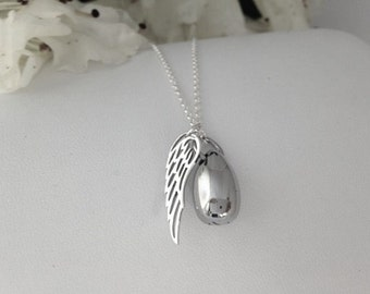 Cremation Necklace/ Urn Jewelry/ Pet Urn Necklace/ Angel Wing Urn/Human Ashes Jewelry/Memorial Jewelry/Ashes Necklace/Pet Urn/Ashes Keepsake