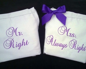 Apron Wedding Gifts Mr & Mrs Right Bride Groom