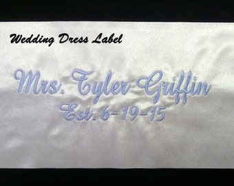 Wedding Dress Label Something Blue Custom Dress Tag Brides Wedding Gown