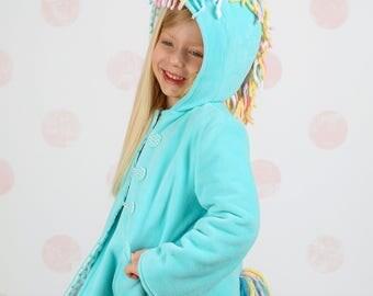 Magical  Unicorn Coat, Girls Aqua Blue Fleece Jacket, Warm Winter Coat, Fun Character Coat for Kids, Wild & Woolly