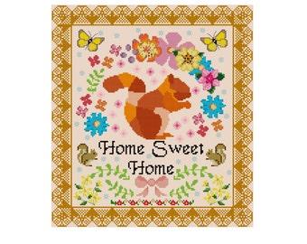 Home Sweet Home Cross Stitch Pattern - Cute Cross Stitch Pattern - Squirrel Cross Stitch - Easy Cross Stitch Pdf