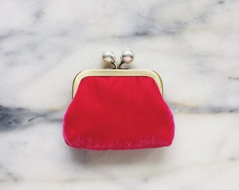 Coin Purse - Silk Velvet - Hot Pink Coin Purse With Knobs - Handmade - Pink