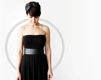 Black waist belt - modern and minimalist leather look sleek women's waist belt- Black vegan belt