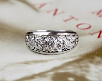 Art Nouveau Granat Brothers .46cttw  Diamond Engagement Ring, 14k White Gold Wedding Ring, Antique Anniversary Ring, Art Deco Wedding Band