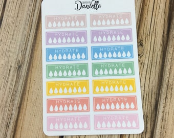 40-50% OFF SALE - Hydrate Stickers, Water Tracker Stickers, Hydrate Planner Stickers, Water Habit Tracker Sticker, set of 14 - Pastel