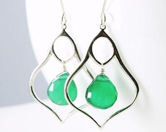 Green Onyx Earrings, Sterling Silver earrings, statement earrings, green gemstone, moroccan lamp dangle earrings, holiday gift for her, 2573
