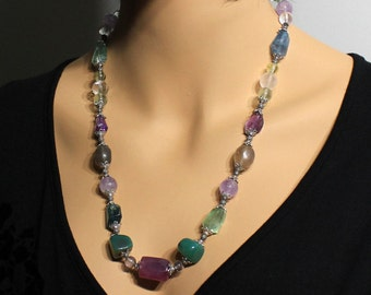Fluorite Necklace, Amethyst, Rose Quartz, Crystal, Sterling Silver, green purple gemstones, fine, boho, multi color stone, gift for her,3336