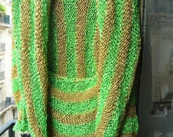 Handknitting bolero festive green golden brilliant stripes vest jacket kimono cardigan boho gypsy hippie St Patrick Christmas gift for her