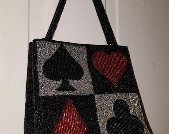 INGE CHRISTOPHER PURSE // Gorgeous Vintage 80's Party Beaded Handbag 90's Black Party Red Cards Suit Vegas Heart Diamond Clubs Spades