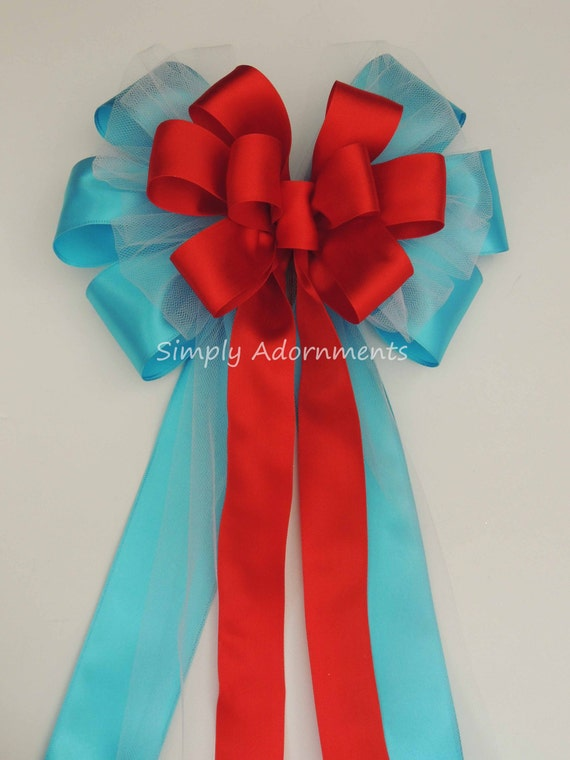 Turquoise Red Wedding Bow Blue Red Wedding Pew Bow Turquoise Red Wedding Ceremony Decor Bridal Shower Party Decor Red Blue Church Aisle Bow