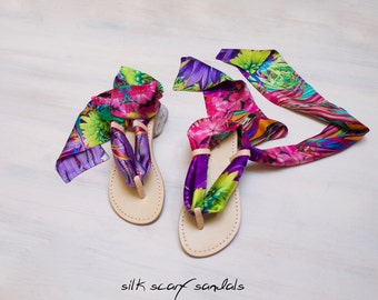 leather sandals, italian silk scarf sandals, tropical lace up sandal, one of a kind sandal