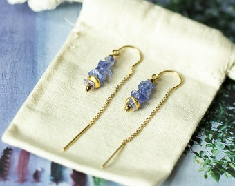 Tanzanite Earrings, Threader Earrings, Gold Threader Earrings, Dangle Earrings, Ear Threaders, Simple Earrings, Gemstone Earrings