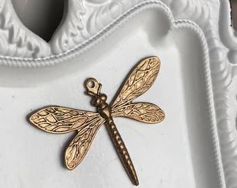 bronze dragonfly pendant or large charm insect bug wings jewelry supply