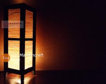 15'' Tall Asian Oriental Japanese Bamboo Zen Art Bedside Floor Table Lamp Desk Paper Light Shades Gift Living Bedroom Furniture  Decor