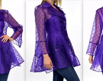 Polka Dot Blouse, Organza Blouse, Aristocratic and High End Blouse, Purple Polka Dot, S,M,L Size