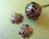 10mm Leaf Bead Caps Antique Copper 40pcs