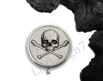 Skull and Crossbones Pill Box,Skull Pill Case,Trinket Box Storage,Medical Pills Storage,Container,Jewelry Box, Gift for Her,Anatomy Pill Box