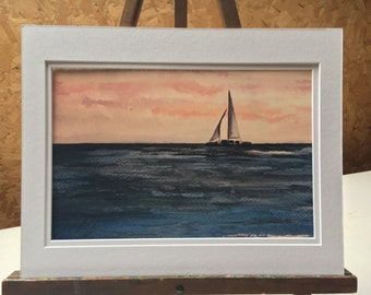 Sailing on the water 12 x 8  water color print