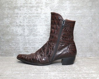 Vtg 90s Brown Leather Crocodile Charles Jourdan Ankle Boots 6