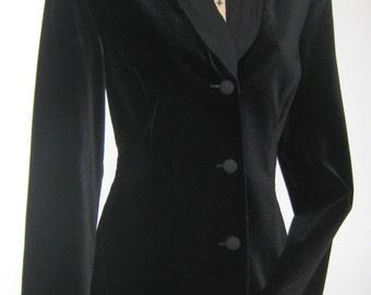LAURA ASHLEY Vintage Tailored Black Velvet Dress / Dinner Jacket with Silk Shawl Collar, UK 10
