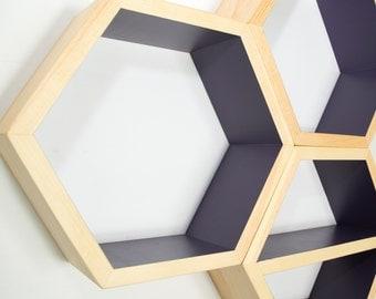 Honeycomb Shelf - Modern Furniture - Geometric - Minimalist - Hexagon Shelf - Floating Wall Shelf - Mid Century Modern - 1 XL Shelf