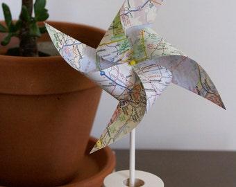 California map pinwheels, set of 12, party/baby shower decor