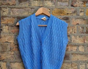 Vintage 70s 80s blue knit button up vest v neck retro vintage sweater vest
