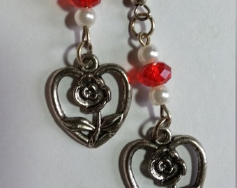 Heart Rose Red glass beads silver color pierced earrings  P334