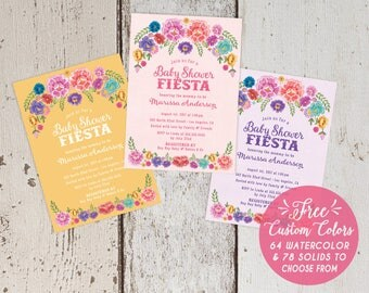 Mexican Fiesta Theme Baby Shower Invitations - Spanish Floral Blush Pink Lavender Purple Yellow -  FREE CUSTOM COLORS - Printed Invite Sets