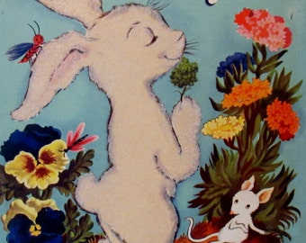 Vintage  1940s  The White Bunny and his Magic Nose Fuzzy Animal Fuzzy Animal Storybook