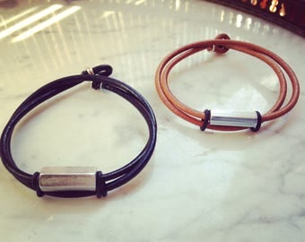 Men's leather bracelet, two-tower wrap, leather jewelry and oxidized zinc-plated steel, for men, New collection