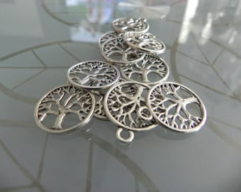 10 Antique Silver Tree Of Life Charms 23mm x 20mm