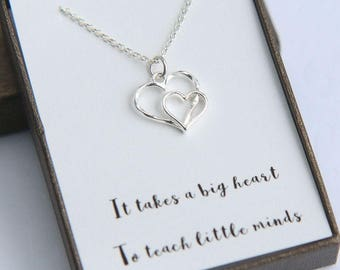 It takes a big heart to teach little minds teacher Necklace, Teacher gift, Teacher Necklace, Teacher thank you, Two Silver Hearts Necklace