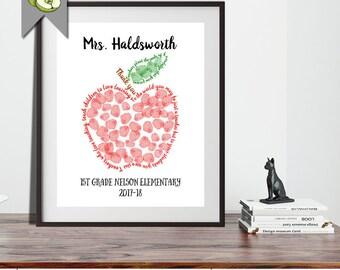 fingerprint apple, class gift, Teacher Gifts, Teacher Appreciation Gift, End of Year Teacher Gift, Printable, Thumbprint Tree, Thank