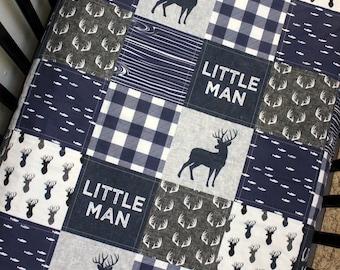 Modern Baby Toddler Woodland Patchwork Baby Quilt, Woodland Crib Bedding, Navy Grey White Baby Bedding, Baby Boy Crib Bedding Buck Theme