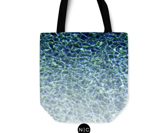 Pool Water 3 - Tote Bag, Crystal Blue Ombre Style Beach Towel Bag, Surf Chic Boho Market Shopping Fashion Accessory in Basic & Adjustable
