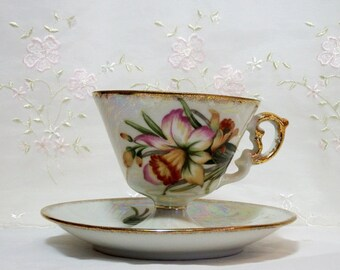 Vintage 1958 Enesco March Daffodil Lusterware Pedestal Teacup and Saucer