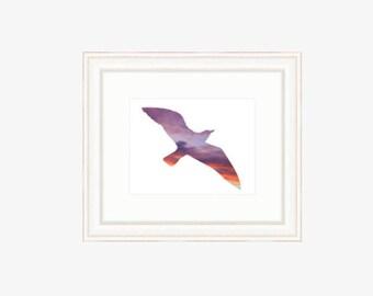 Bird Silhouette Print Silhouette art of bird with orange and purple clouds Minimalist bird with sky and clouds Bird prints Bird wall art