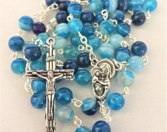Blue Stripe Agate Rosary