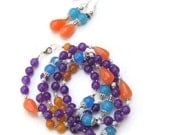 Purple Orange Blue Necklace Earrings Set, Unique Bohemian Colorful Multi Strand Multicolored Double Wrap Necklace, OOAK Jewelry Gift