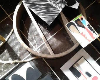 "NEW Black White Fine Art Paper Original Art 5""x7"" FRAMED Painting Abstract Minimalist Art Modern Contemporary Artwork"