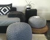 Light Grey Pouf-Grey Ottoman-Pouf Ottoman-Floor Cushion-Footstool-Floor Pillow-Crochet Pouf-Pouffe-Floor Pouf-Nursery Decor-Knit Pouf