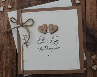 Personalised Wedding Card, Rustic, Shabby Chic, Mr & Mrs Card, Civil Ceremony Card *HANDMADE*