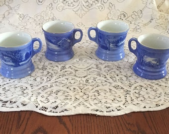Free Shipping Vintage Blue and White Currier & Ives Winter Scenes Set of 4 Glass/China Coffee/Cocoa Mugs Gold Rim Made in Japan