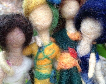 Handcrafted OOAK Needle Felted Fairies, Roslynn, Sumera, Autumnia, Raven, Season Sisters, Spring Summer Autumn Winter Waldorf Inspired Gift