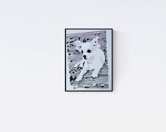Dog Art: Chihuahua, original art, Hand made Pop Art illustration, hand-signed, unique piece