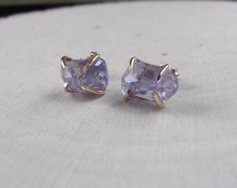 Iolite Earrings, Rose Cut Iolite Earrings, Raw Iolite, Raw Gemstone Earrings, Gold Filled Stud Earrings, Purple Iolite Earrings, Iolite, Gem