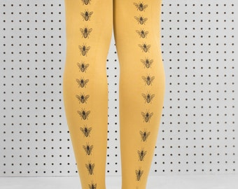 Hand Screen Printed Mustard Bee Tights. Gift for her. Bee print. Mustard Tights. Yellow Tights. Patterned Tights. Print.