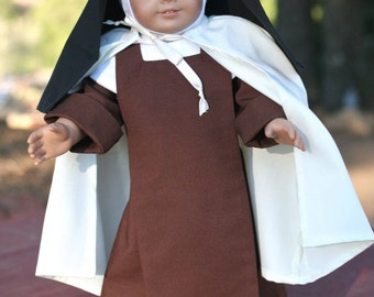 "Carmelite Nun Habit, 18"" Catholic Doll Clothes"
