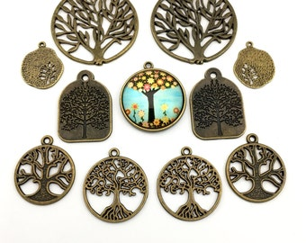 11 tree charms and glass pendant deluxe collection ,bronze tone ,22mm to 43mm #CH 418